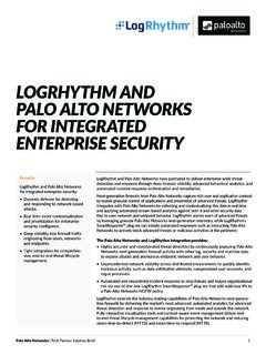 LOGRHYTHM AND PALO ALTO NETWORKS FOR …