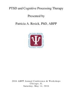 PTSD and Cognitive Processing Therapy Presented by ...