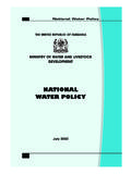 NATIONAL WATER POLICY - Tanzania Online Gateway