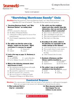 """Surviving Hurricane Sandy"" Quiz - Memorial Lit. Zone"
