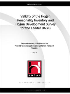 Validity of the Hogan Personality Inventory and Hogan ...