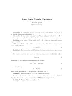 Some Basic Matrix Theorems - Quandt.com