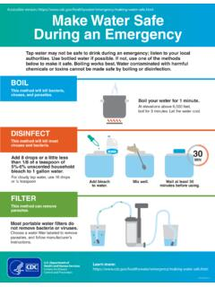 Make Water Safe - Centers for Disease Control and …