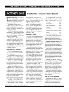 ACTIVITY ONE What is the Consumer Price Index?