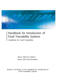 Handbook for Introduction of Food Traceability Systems