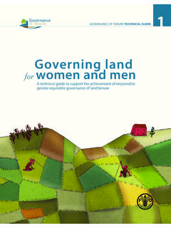 Governing land for women and men - Food and Agriculture ...