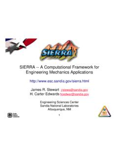 SIERRA -- A Computational Framework for …