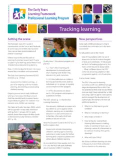 Tracking learning - Early Childhood Australia