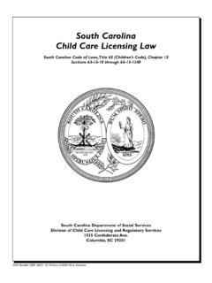 South Carolina Child Care Licensing Law