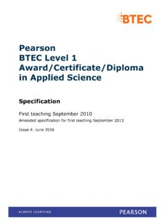 Pearson BTEC Level 1 Award/Certificate/Diploma in …