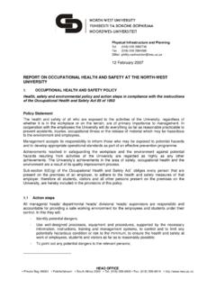 Occupational Health and Safety report - NWU