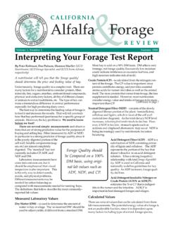 Volume 1, Number 2 Summer 1998 Interpreting Your Forage ...