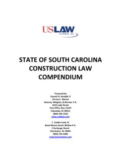 STATE OF SOUTH CAROLINA CONSTRUCTION LAW …