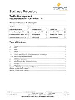 Traffic Management - OHS-PROC-130 - Stanwell