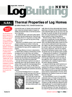 Thermal Properties of Log Homes