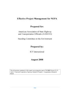 Effective Project Management for NEPA Prepared for