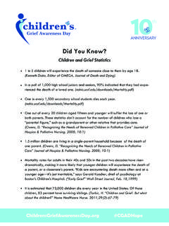 Did You Know? - Children's Grief Awareness Day