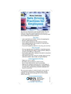 Motor Vehicles Safe Driving Practices for Employees