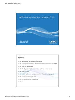 AEB funding rules and rates 2017/18 - Learning & Skills