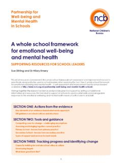 A whole school framework for emotional well-being and ...