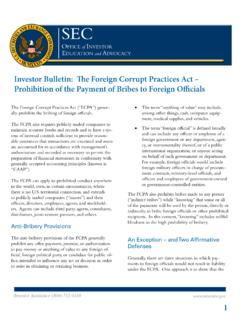 Investor Bulletin: The Foreign Corrupt Practices Act ...