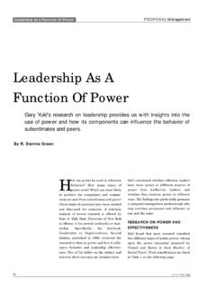 Leadership As A Function Of Power - UT Health …