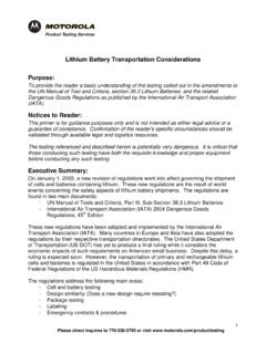 Lithium Battery Transportation Considerations …