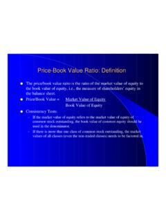 Price-Book Value Ratio: Definition - New York University