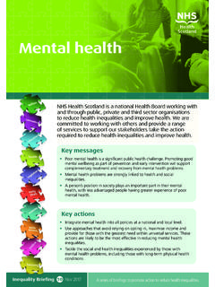 Health inequalities: briefing 10 Mental health