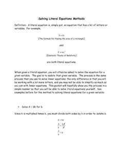 Solving Literal Equations Methods