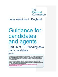 Local elections in England and Wales Guidance for ...