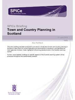 Town and Country Planning in Scotland - Scottish Parliament