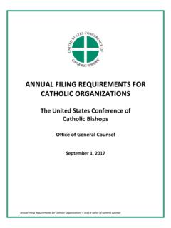 ANNUAL FILING REQUIREMENTS FOR CATHOLIC …