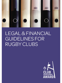 LEGAL & FINANCIAL GUIDELINES FOR RUGBY CLUBS