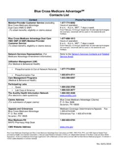 Blue Cross Medicare AdvantageSM Contacts List
