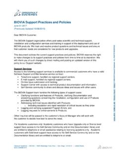 BIOVIA Support Practices and Policies - Accelrys