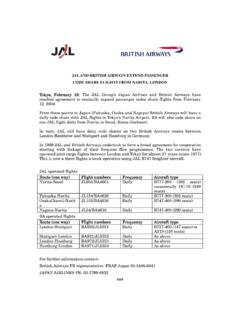 JAL AND BRITISH AIRWAYS EXTEND PASSENGER CODE …