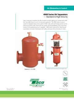4900 Series Air Separators — Standard & High Velocity