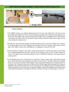 WFP sOUTH SUDAN MARKET PRICE monitoring …