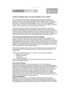 DIAMOND MINING AND THE ENVIRONMENT FACT SHEET