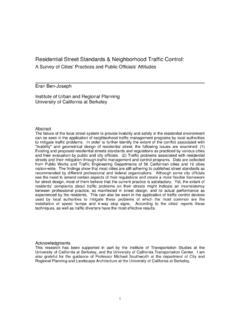 Residential Street Standards & Neighborhood Traffic Control