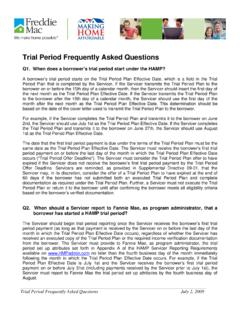 Trial Period Frequently Asked Questions - Freddie Mac