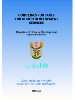 Guidelines for Early Childhood dev - Home page | …