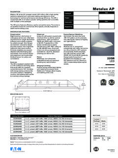 Metalux AP 22GR LED 2' x 2' LED Troffer specification sheet