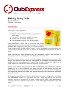 Building Strong Clubs - ClubExpress