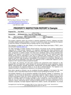 PROPERTY INSPECTION REPORT # Sample