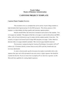 CAPSTONE PROJECT TEMPLATE - Nyack College