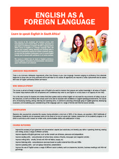 ENGLISH AS A FOREIGN LANGUAGE - Wits …