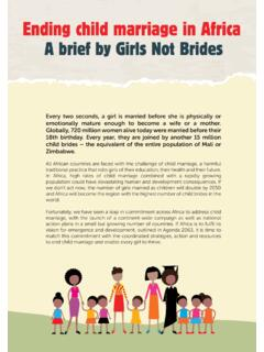 Ending child marriage in Africa A brief by Girls Not Brides