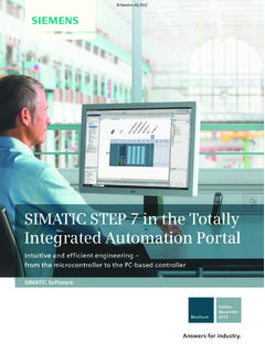 SIMATIC STEP 7 in the Totally Integrated Automation Portal